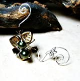 Dragonfly Art Nouveau Ear Cuff Ear Climber - No Piercing Required, Single or Pair