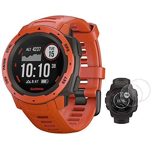 Garmin Instinct Rugged Outdoor Watch with GPS and Heart Rate Monitoring with Deco Essentials 2-Pack Screen Protector Instinct