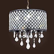 SwanHouse Beautiful Modern Crystal Chandelier Flush Mount Light Lighting Fixture 4 Lights CAD-KTK/D-4L-W14 BK