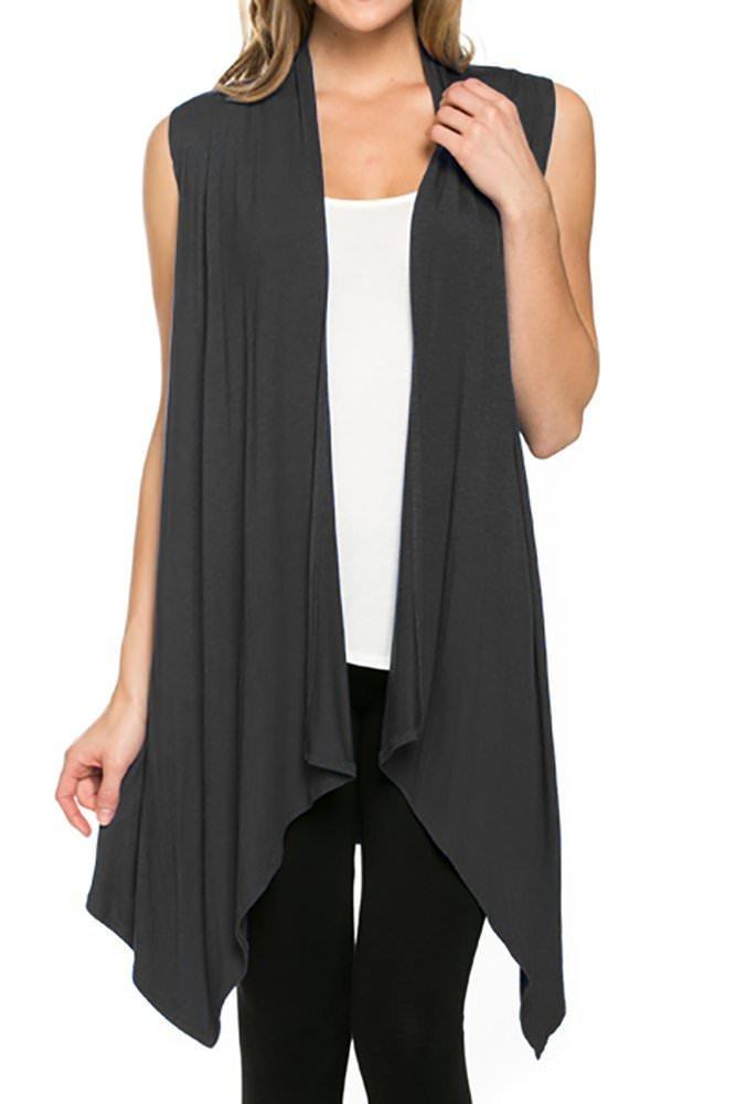 CardigansforWomen Solid Color Sleeveless Asymetric Hem Open Front Drape Long Cardigan Vest -Dark Grey (Large)