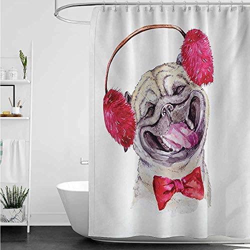 (home1love Shower stall Curtains,Pug Watercolor Drawing of Dog with Furry Winter Headphones and a Bow Tie Happy Cute Animal,Bathroom Decoration,W60x72L,Pink Beige)