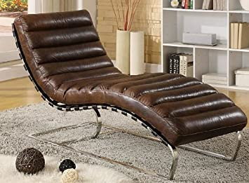 Chaise Echtleder Vintage Leder Relaxliege Braun Design Recamiere Liege Sessel Chaiselongue Ledersessel NEU 436