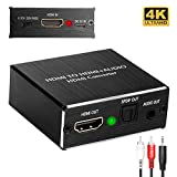 Cingk 4K HDMI to HDMI Audio Extractor Optical and 3.5mm Stereo Audio Output Splitter Video Audio Converter for Roku Blue-ray PC Laptop Xbox One HDTV and More