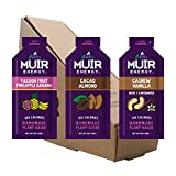 Muir Energy Endurance Energy Gel Variety Pack of Slow Burning and Fast Burning, 12-Count - Vegan Organic All-Natural Food for Life/Running/Hiking/Cycling/Swimming/Camping - 3 Flavors