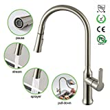polished copper kitchen faucet D'amour Kitchen Sink Faucet, Brass Brushed Nickel,Single Handle Pull-Down with Gravity Ball,High Arc 360 Rotatable Two-function Nozzle,Hot and Cold Sprayer