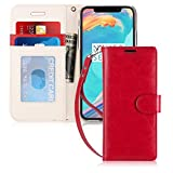 FYY Case for iPhone 7/iPhone 8, [Kickstand Feature] Flip Folio Leather Wallet Case with ID and Credit Card Pockets for Apple iPhone 8/7 (4.7'') Red