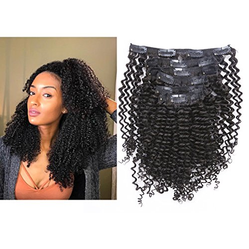 8A Kinkys Curly 4C Clips in Hair Extensions Human Hair Doubl