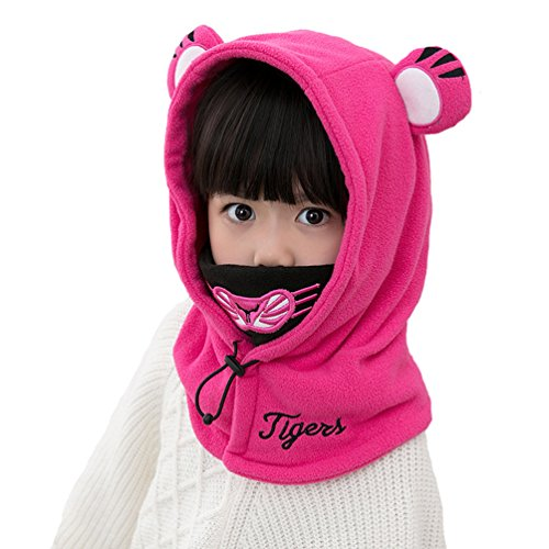 Baby Girls Boys Winter Warm Cartoon Cap Face Cover Hat Balaclava Windproof Skiing Cycling Mask (Rose Red)