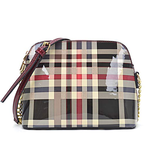 Dasein Plaid Design Patent Leather Crossbody/Messenger ()