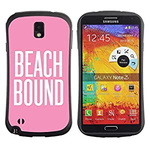 LASTONE PHONE CASE / Suave Silicona Caso Carcasa de Caucho Funda para Samsung Note 3 N9000 N9002 N9005 / beach bound pink white text summer