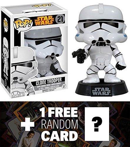 (Clone Trooper: Funko POP! x Star Wars Vinyl Bobble-Head Figure w/ Stand + 1 FREE Official Star Wars Trading Card Bundle [60381] )