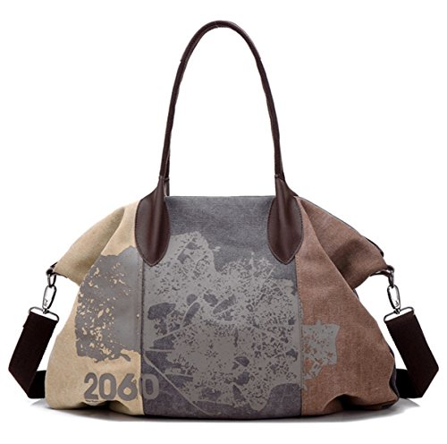 Shoulder Brown Travel Shopping Casual Tote Bag 44cmx32cm Women's Hobo Bag Canvas Oversize PHIFTFnq4