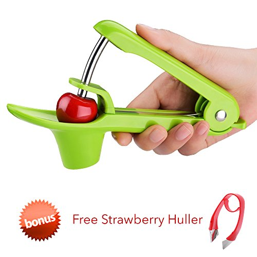 CloverTale Cherry Pitter, Olive Pitter Remover with Splatter Shield and Strawberry Huller, Dishwasher Safe