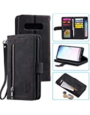 Snow Color Leather Wallet Case for Samsung Galaxy S10+ (S10 Plus) with Stand Feature Shockproof Flip, Card Holder Case Cover for Galaxy S10+ (S10Plus) - COHH040124 Black