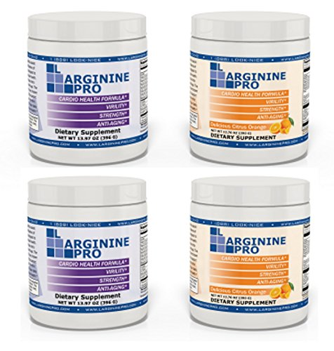 L-arginine Pro, #1 NOW L-arginine Supplement - 5,500mg of L-arginine PLUS 1,100mg L-Citrulline + Vitamins & Minerals for Cardio Health, Blood Pressure, Cholesterol, Energy (Berry & Orange, 4 Jars) by L-arginine Pro