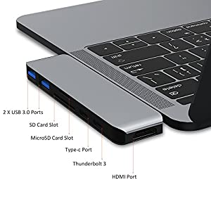 "Flujo USB C Multi-Function Adapter for 2016/2017 MacBook Pro 13/15""- Thunderbolt 3 (40Gbps), 4k HDMI, Pass-Through Charging, SD/Micro Card Reader, 2 X USB 3.0 Ports (Space Grey)"