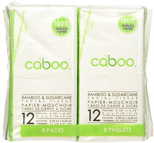 Facial Travel Pack - Caboo Natural Bamboo Facial Tissue Paper, Eco Friendly Travel Size Pocket Packs, 12 Sheets Per Pack, Total of 8 Soft Packs