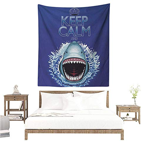 (Wall Tapestry Animals Keep Calm and Shark Jaws Attack Predators Hunter Dangerous Wild Aquatic Nature 70W x 84L INCH Suitable for Bedroom Living Room)