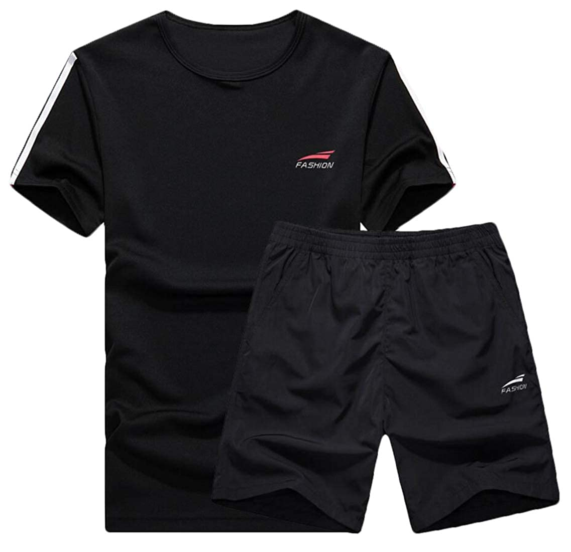 WSPLYSPJY Mens Tracksuit Shirts and Shorts Running Jogging Athletic Sports Set