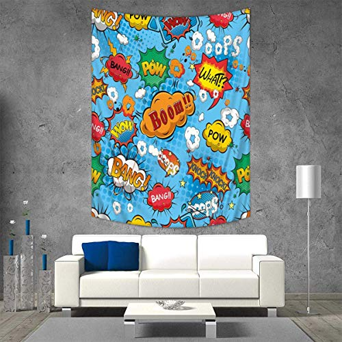 Anhuthree Superhero Tapestry Table Cover Bedspread Beach Towel Colorful Comic Style Icons Effects Boom Scream Magazine Signs Pop Art Illustarion Dorm Decor 54W x 72L INCH Multicolor by Anhuthree
