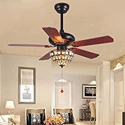Tropicalfan Vintage Ceiling Fan With 1 Tiffany Cover Home Decoration Living Room Bedroom Quiet Fans Chandelier 5 Wood Reversible Blades 52 Inch