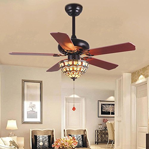 Tropicalfan Vintage Ceiling Fan With 1 Tiffany Cover Home Decoration Living Room Bedroom Quiet Fans Chandelier 5 Wood Reversible Blades 52 (Tiffany Copper Bulb)