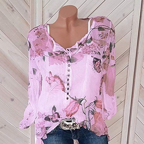 Tee Ourlet Bouton LULIKA Shirt T Violet Imprim Occasionnels Floral Top Blouse Shirt Chiffon Femmes IrrGulier Haut zxwqzOrS
