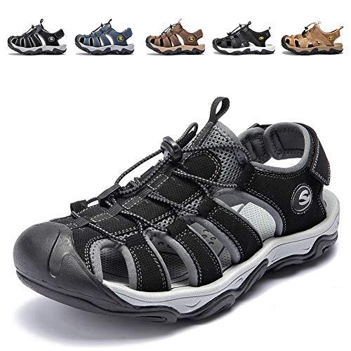 462fc7620bf KIIU Men s Outdoor Athletic Sandals Closed Toe Sport Sandal Trail Fishermen  Sandals (13M Black)