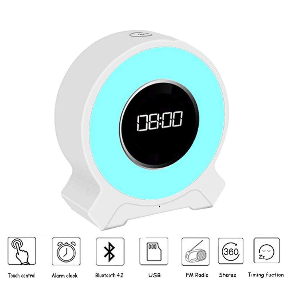 Aisuo Radio Alarm Clock, Night Light with Bluetooth 4.2 Speaker, Dimmable Function, Rechargeable Lithium Battery, SD Card & Aux Line Supported, Ideal Gift for Kids, Children, Friends.