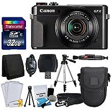 Canon PowerShot G7 X Mark II Digital Camera + Transcend 32GB Memory Card + Point & Shoot Camera Case + Full Tripod + Card Reader + Memory Card Wallet + Screen Protectors + Cleaning Kit + Valued Bundle