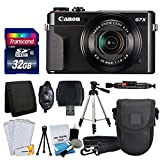 Canon PowerShot G7 X Mark II Digital Camera + Transcend 32GB Memory Card + Point & Shoot Camera Case + Full Tripod + Card Reader + Memory Card Wallet + Screen Protectors + Cleaning Kit + Valued Bundle For Sale