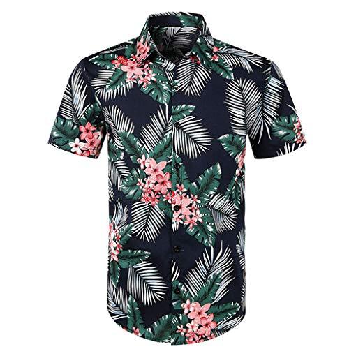 Men Casual Printed Button Down Top TANGSen Fashion Summer Short Sleeve Shirt Hawaiian Tops Vacation Blouse Green