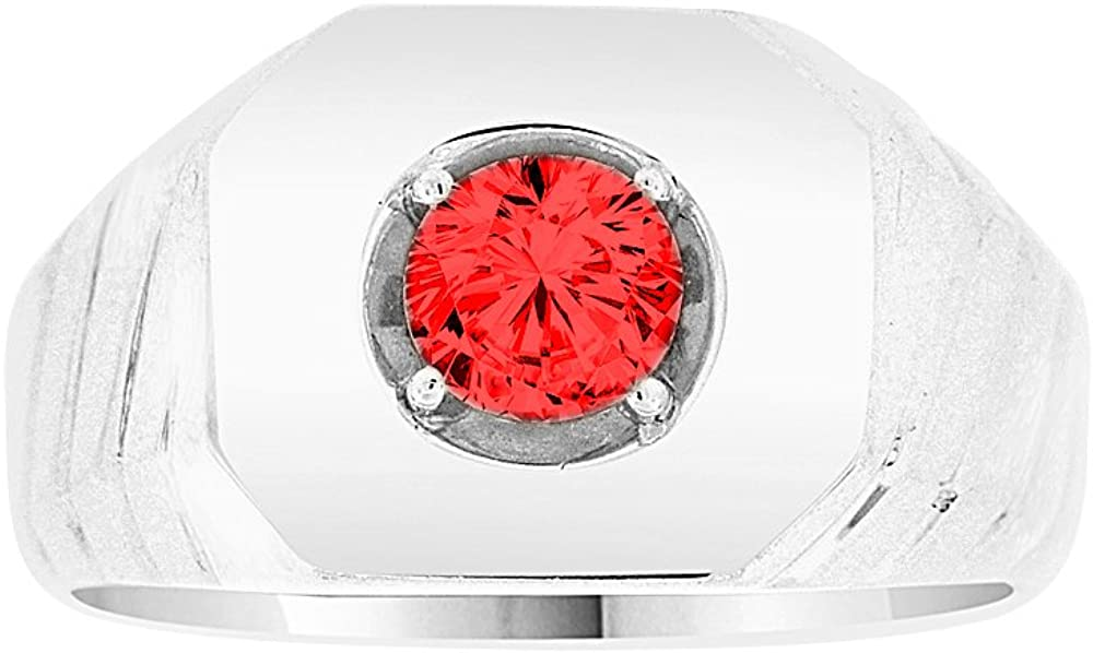 Classic Ring Men Guy Gent Synthetic Jan Birthstone Dark Red CZ White Rhodium Plated Metal