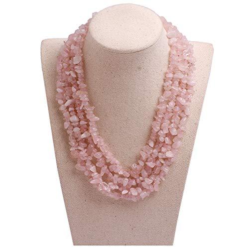 - GEM-inside Gemstone Necklace Rose Quartz Freeform Chips Charm Fashion Bohemia Statement Hyperbole Bib Stand String Beaded Necklace Crystal Unisex 18-21 Inches