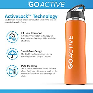 Stainless Steel Insulated Water Bottle with flip straw. H2O Sports drinking bottle is BPA Free, Eco Friendly, Good for Kids, and keeps ice over 24 hour (Orange- Powder Coated, 24 oz)