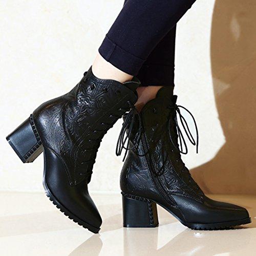AIYOUMEI Damen Leder Stiefeletten mit Schnürung und Nieten Bequem Blockabsatz Schnürstiefeletten schwarz(kunstfell futter)