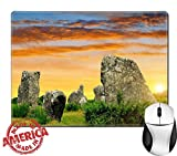 "Luxlady Natural Rubber Mouse Pad/Mat with Stitched Edges 9.8"" x 7.9"" IMAGE ID: 34536346 Megalithic monuments menhirs in Carnac Brittany France"