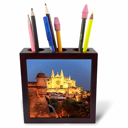 3dRose Danita Delimont - Churches - Spain, Mallorca, Palma de Mallorca. La Seu Gothic Cathedral. - 5 inch tile pen holder (ph_277911_1) by 3dRose