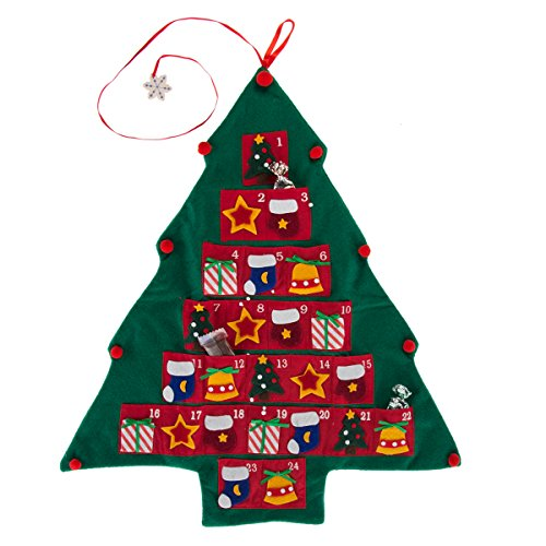 Giftco, Inc Christmas Tree Advent Calendar Felt Fabric Holiday Countdown Display Decoration, Reusable