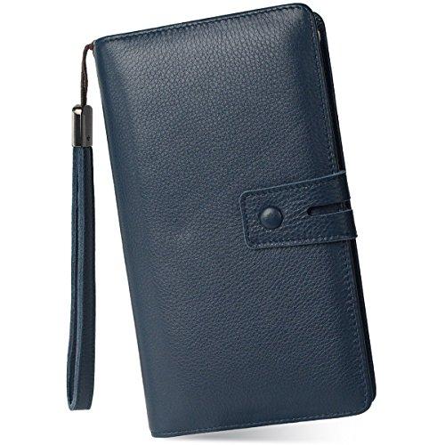Women's Big Fat Rfid Leather Wristlet Wallet Organizer Large Phone Checkbook Holder with Zipper Pocket (Navy Blue)