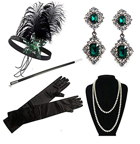 1920s Flapper Gatsby Costume Accessories Set 20s Flapper Headband Pearl Necklace Gloves Cigarette Holder(D-Green)