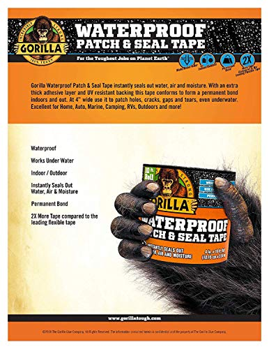Gorilla 4612502 Waterproof Patch & Seal Tape 4'' x 10' Black, Pack 4 by Gorilla (Image #2)