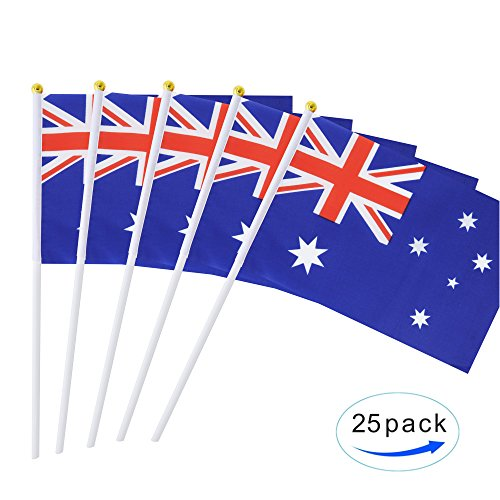 25 Pack Hand Held Small Mini Flag Australia Flag Australian Stick Flag Round Top National Country Flags,Party Decorations Supplies For Parades,World Cup,Festival Events ,International Festival