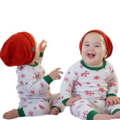 Rumas® Christmas Kids Baby Girls Boys Snow Print Tops+Pants 2Pcs Set Outfits Clothes (100/24Months, (Snow White Outfits For Adults)