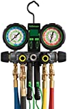 Hilmor 1839110 R410A 4-Valve Aluminum Manifold HVAC Gauge Set with Hose and Dual Readout Thermometer, Multi-Color