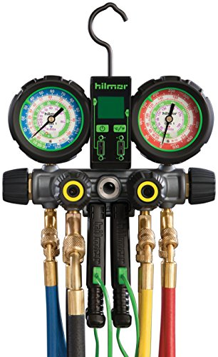 hilmor 1839110 R410A 4-Valve Manifold with Hose and Dual Readout Thermometer by Hilmor