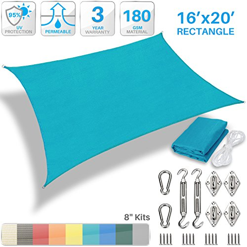 (Patio Paradise 16' x 20' Sun Shade Sail with 8 inch Hardware Kit, Turquoise Green Rectangle Canopy Durable Shade Fabric Outdoor UV Shelter Cover - 3 Year Warranty - Custom)