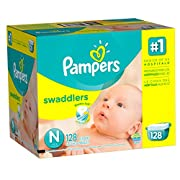 Pampers Swaddlers Diapers, Size N, Giant Pack, 128 Count (Packaging May Vary) (Packaging May Vary)