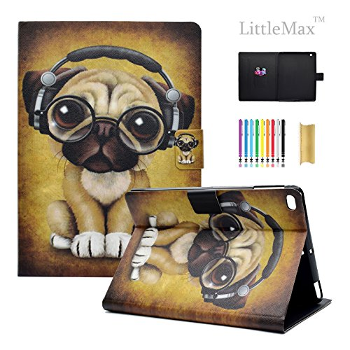 iPad 9.7 2018/2017 / Air/Air 2 Case, LittleMax Ultra Slim PU Leather Lightweight Case Folio Stand Auto Wake/Sleep Cover Compatible for Apple iPad 9.7 Inch 2018/2017, Air 1 2-1 Headphone Dog