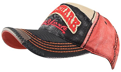 MINAKOLIFE Men Vintage Rock Shark Newyork Washed Mesh Pacth Baseball Cap Hat  … (Red) 5f7960d62b17